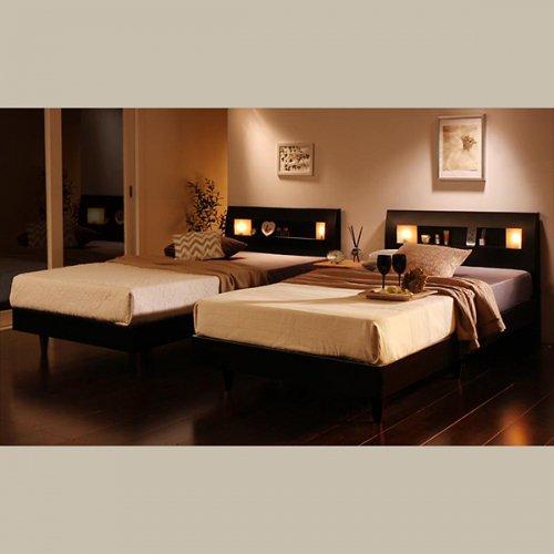 2台連結ワイドサイズで使用可能!おしゃれな木目柄のデザインデザインベッド【MBL】 【16】