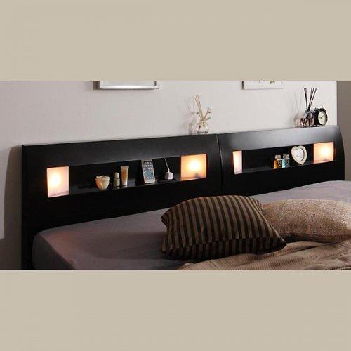 2台連結ワイドサイズで使用可能!おしゃれな木目柄のデザインデザインベッド【MBL】 【17】
