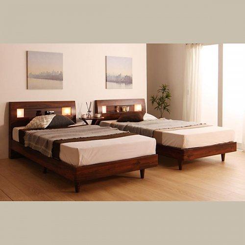 2台連結ワイドサイズで使用可能!おしゃれな木目柄のデザインデザインベッド【MBL】 【3】