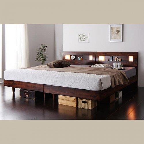 2台連結ワイドサイズで使用可能!おしゃれな木目柄のデザインデザインベッド【MBL】 【4】