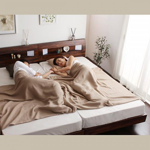 2台連結ワイドサイズで使用可能!おしゃれな木目柄のデザインデザインベッド【MBL】 【5】
