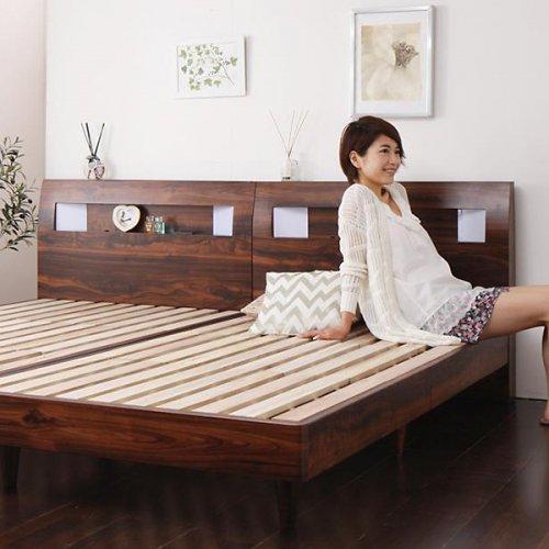 2台連結ワイドサイズで使用可能!おしゃれな木目柄のデザインデザインベッド【MBL】 【6】