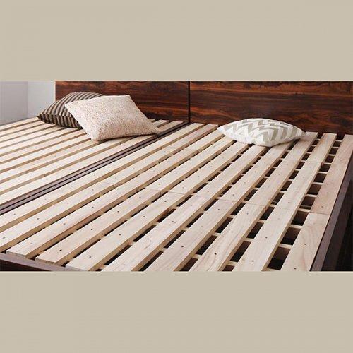 2台連結ワイドサイズで使用可能!おしゃれな木目柄のデザインデザインベッド【MBL】 【7】