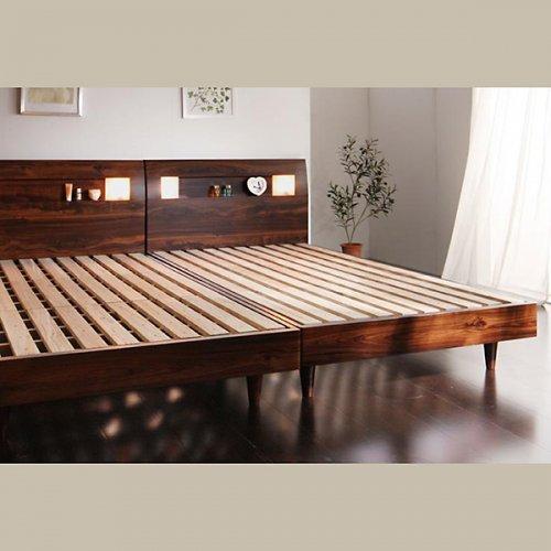 2台連結ワイドサイズで使用可能!おしゃれな木目柄のデザインデザインベッド【MBL】 【8】