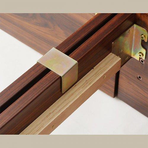 2台連結ワイドサイズで使用可能!おしゃれな木目柄のデザインデザインベッド【MBL】 【9】