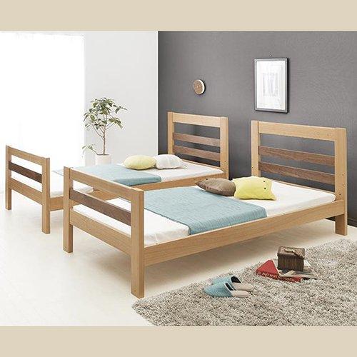 2段ベッドがシングル2台・ワイドキングにもなる!木製マルチベッド【SVN】 【7】