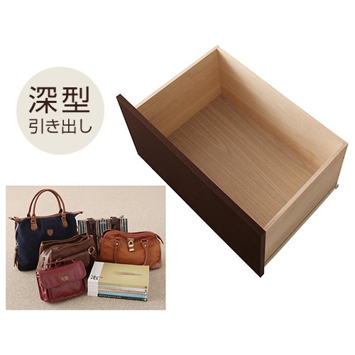 日本製・安心の品質!大容量収納チェストベッド【STE】(ヘッドボード付き) 【4】
