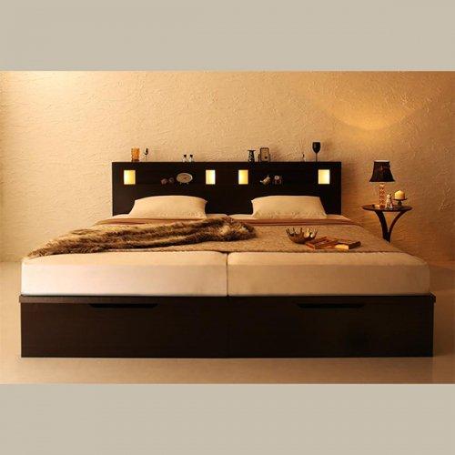 ワイドサイズ跳ね上げ式大容量収納ベッド【NTL】 【7】