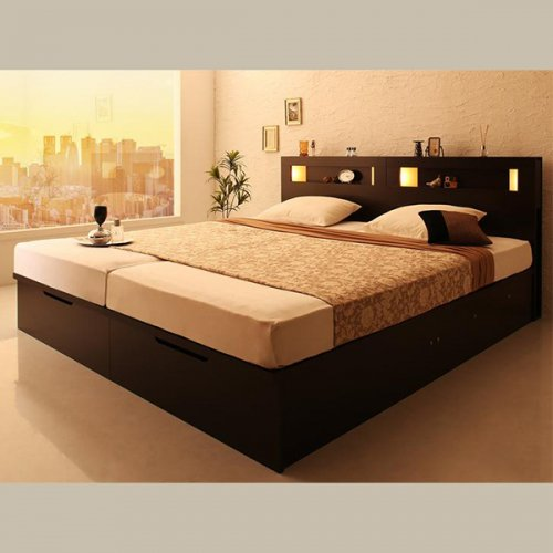 ワイドサイズ跳ね上げ式大容量収納ベッド【NTL】 【8】