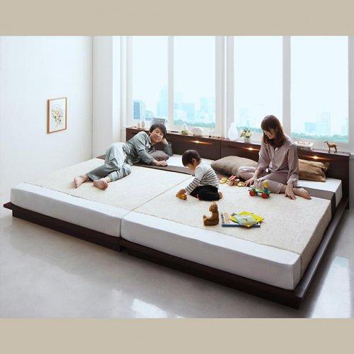 ライト・コンセント付き!家族で寝られるファミリーローベッド【CRC】 【2】