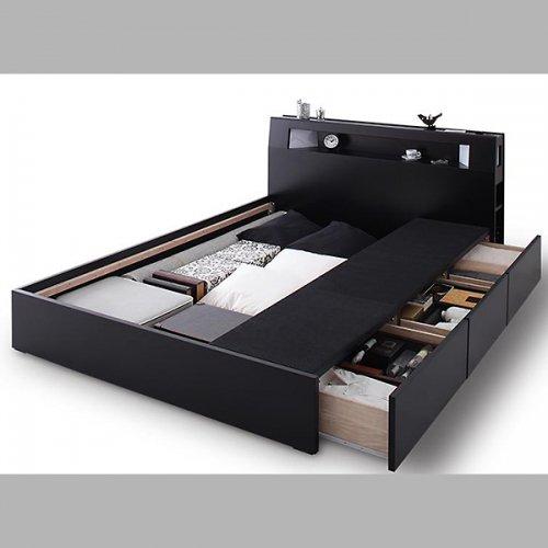 オールブラックモダンデザイン収納ベッド【ECB】 【5】