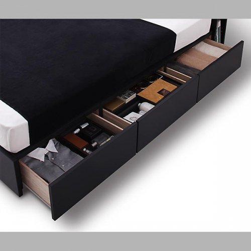 オールブラックモダンデザイン収納ベッド【ECB】 【6】