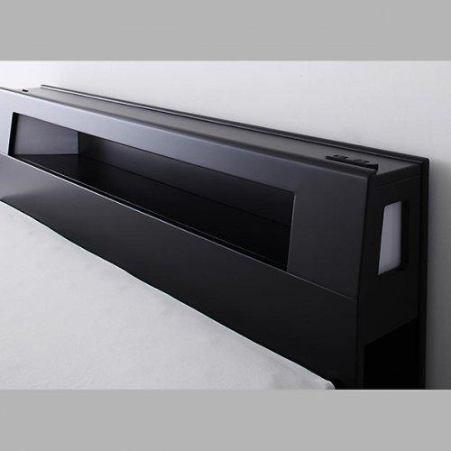 オールブラックモダンデザイン収納ベッド【ECB】 【8】