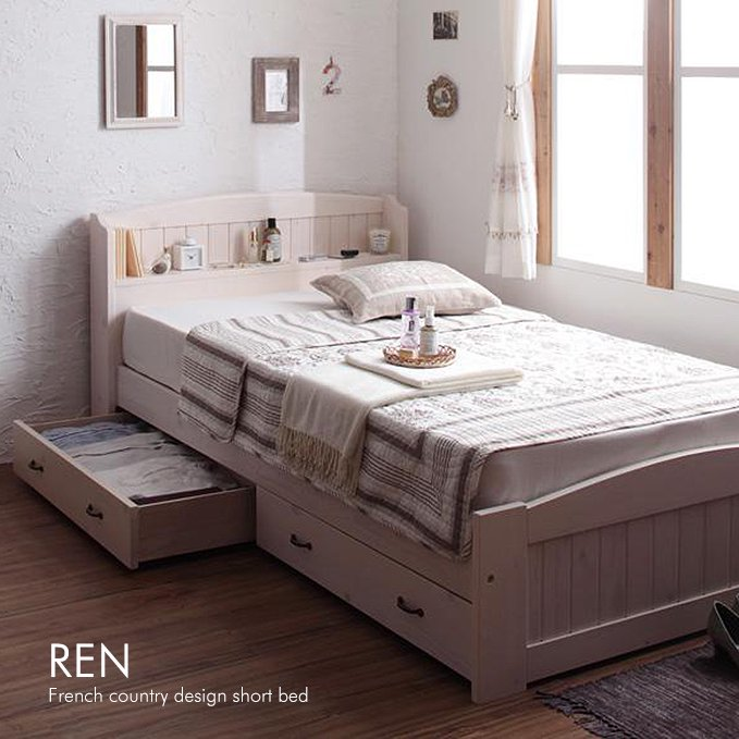 かわいいショートサイズ!フレンチカントリー調収納ベッド【REN】
