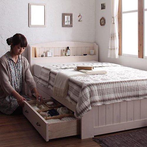 かわいいショートサイズ!フレンチカントリー調収納ベッド【REN】 【7】