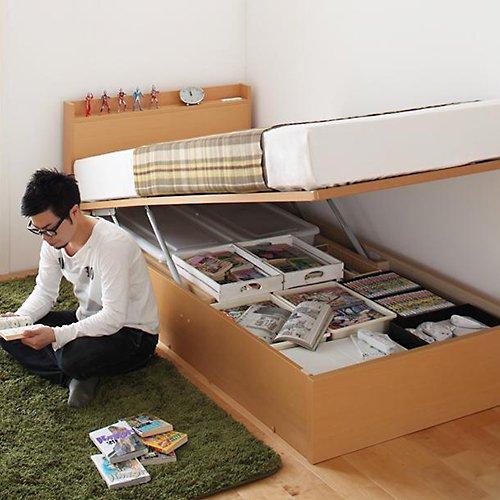 日本製・安心の品質!跳ね上げ式大容量収納ベッド【FRD】(縦開き) 【4】
