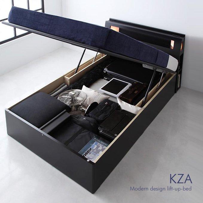 大容量収納跳ね上げ式収納ベッド【KZA】