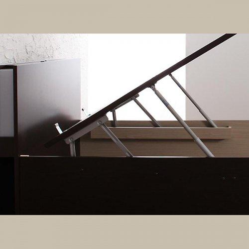 棚・モダンライト・コンセント・収納付きリフトアップベッド【YZK】(縦開き) 【4】