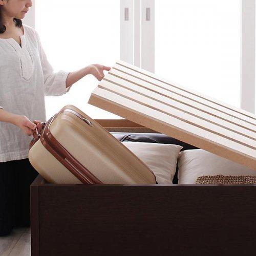 日本製・安心の品質!ヘッドボードレス大容量収納庫付きすのこベッド【OSV】 【2】