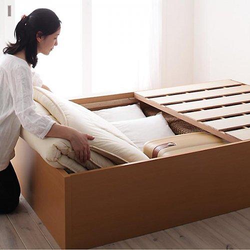 日本製・安心の品質!ヘッドボードレス大容量収納庫付きすのこベッド【OSV】 【3】