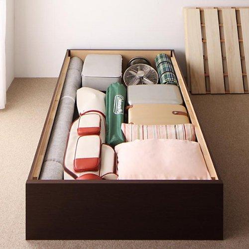 日本製・安心の品質!ヘッドボードレス大容量収納庫付きすのこベッド【OSV】 【5】
