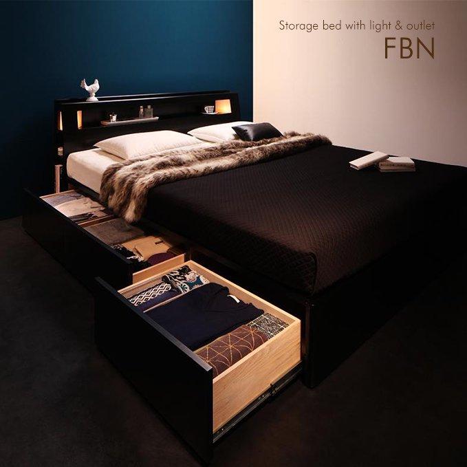 ダブル・クイーンサイズ限定収納付きベッド【FBN】