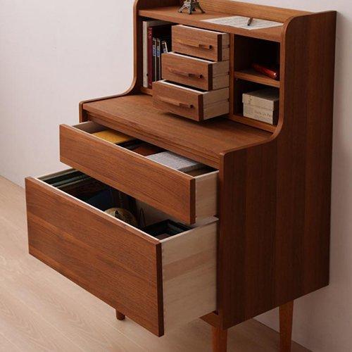 高級チーク材使用!北欧アンティーク調デザイン家具【AML】ライティングデスク 【3】