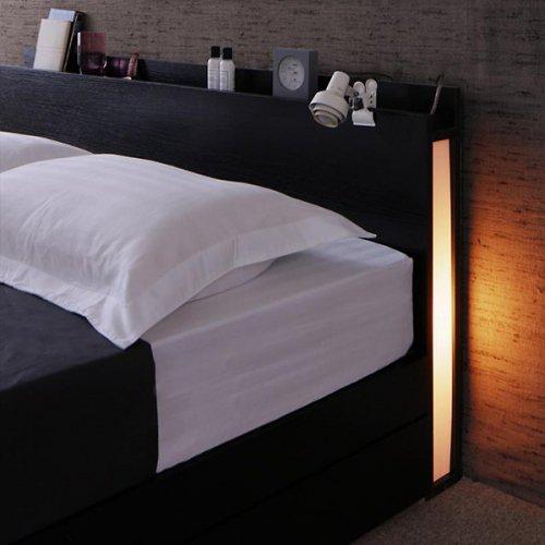 モダンライト付き収納ベッド【CZM】 【6】