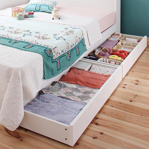 ガールズルームにぴったり!ホワイトカラー収納ベッド【FLR】(ショート丈) 【2】
