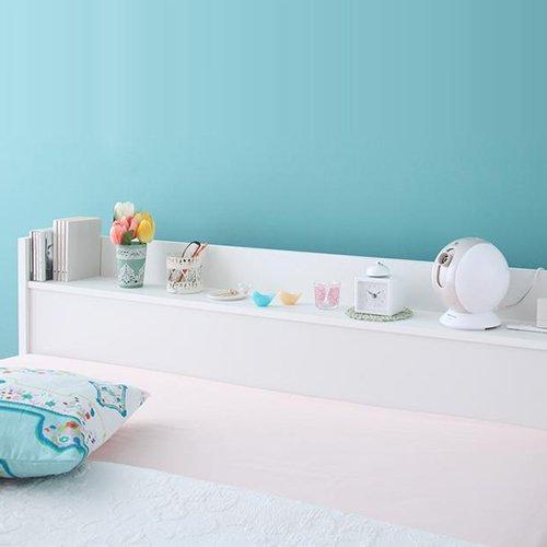 ガールズルームにぴったり!ホワイトカラー収納ベッド【FLR】(ショート丈) 【3】