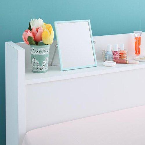 ガールズルームにぴったり!ホワイトカラー収納ベッド【FLR】(ショート丈) 【4】