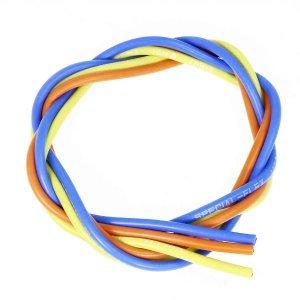 シリコン銀コードセット・14G[ゲージ](青  黄  橙 各60cm)