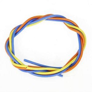 シリコン銀コードセット・16G[ゲージ](青  黄  橙 各60cm)