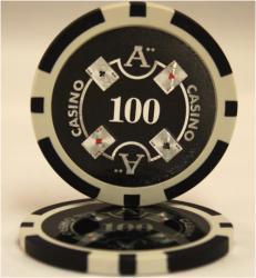 QuattroAssi クアトロアッシーポーカーチップ [100]黒 <25枚セット>