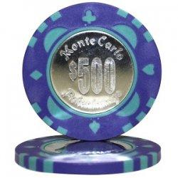 MonteCarlo Metal モンテカルロ・メタル ポーカーチップ(コイン・インレイ)<500>青 25枚セット