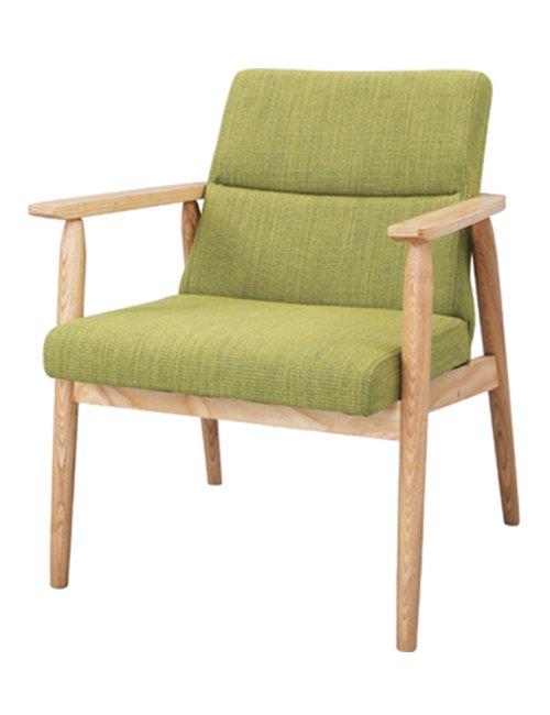 座面高41cm ひじつきの座面幅50cm ゆったり座れる ダイニングチェア グリーン色のファブリック座面