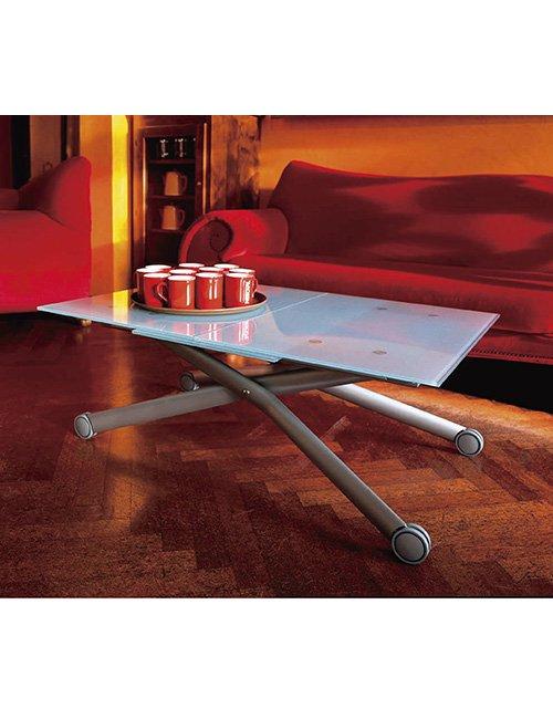 ガラス天板 接客・会議テーブルとしても イタリア製伸長式リフティングテーブル 高さ38~82cm無段階調節(間もなく入…