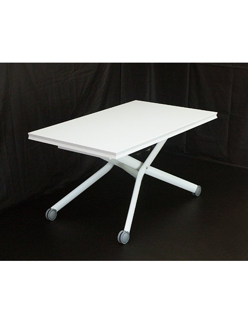 ホワイト(白)色 イタリア製伸長式リフティングテーブル 高さ37~82cm 無段階調節 来客用テーブルキャスターグ…