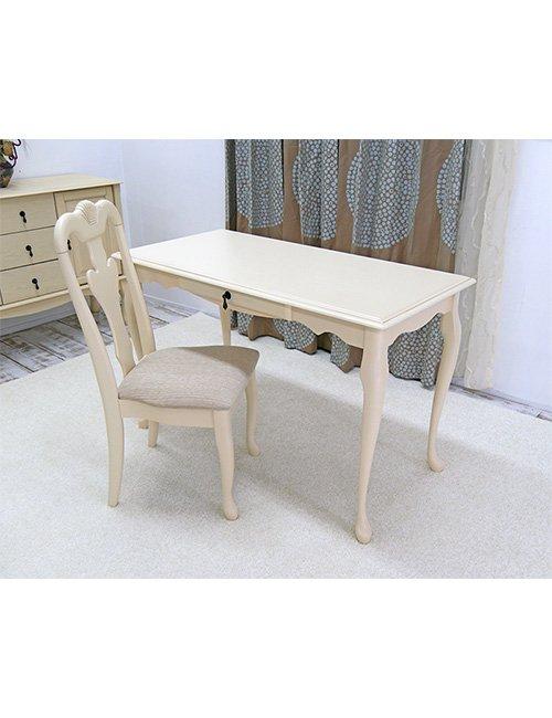 【クィーンアン/コンソールデスクチェアセット】アンティークホワイト色猫脚テーブル