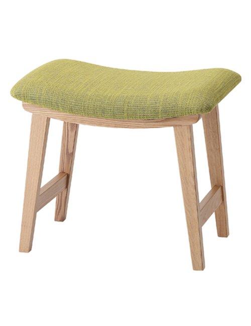 クッション付き 木製スツール 天然木(アッシュ) ウレタン塗装 座面高42cm グリーン色