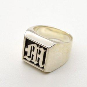 ■銀製オーダーメイドイニシャルリング印台指輪 ※印面をデザイン可 11〜23号