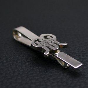■銀製 持込ロゴ・オーダーメイドネクタイピン【クリップ式】 墨入れ仕上げ