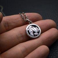 ■家紋 「丸に切り竹笹に笠」 銀製ペンダントネックレス製作例