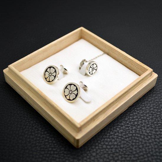 ■オーダーメイド【タイタック式】家紋ネクタイピン・カフスボタンセット(銀製)