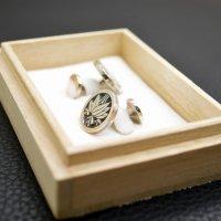 ■丸に根笹 家紋カフスボタン 製作例