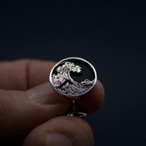 ■富嶽三十六景 神奈川沖浪裏 カフスボタン(銀製)