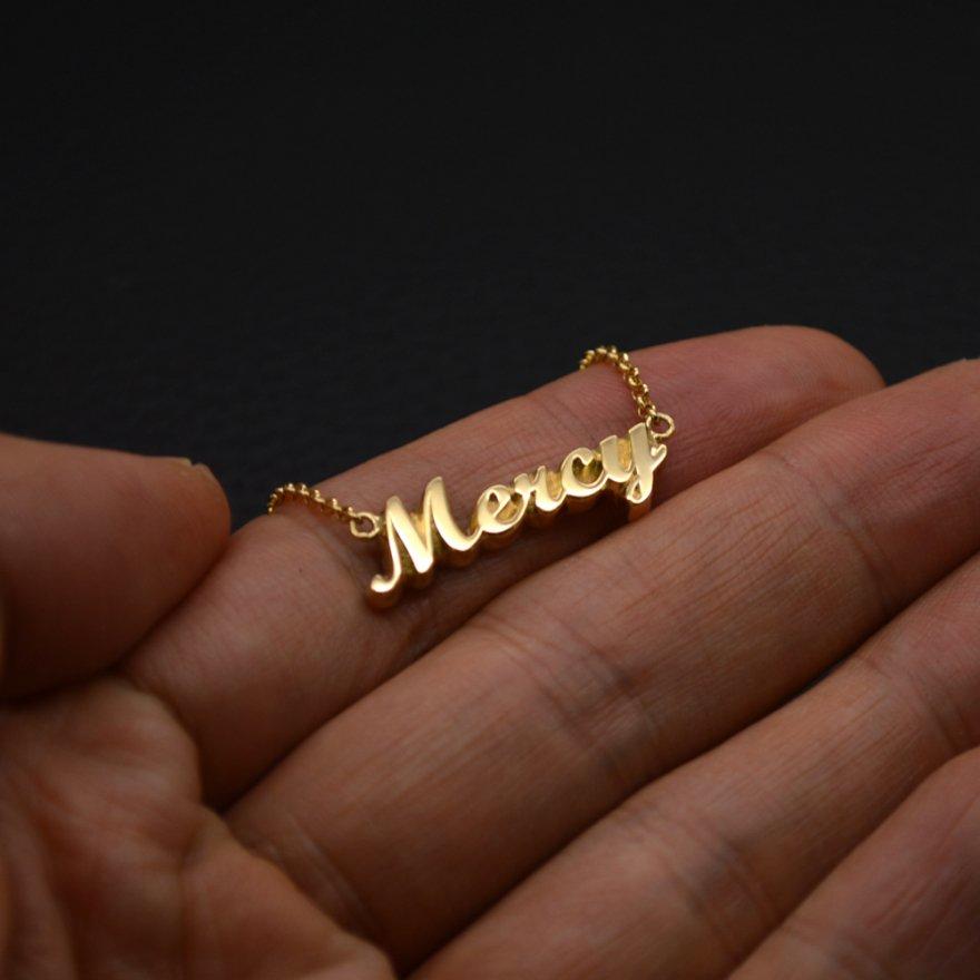 ■オーダーメイドメッセージネックレス Mercy 製作例(イングランド書体)