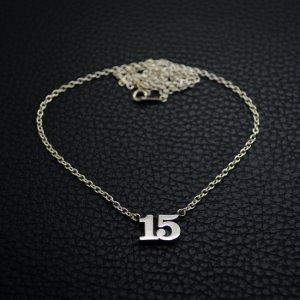 ■シルバー製ナンバーネックレス2桁【Sサイズ】-墨入れ-[セレブラル書体]