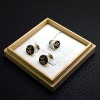 ■オーダーメイド・イニシャル【WT】ネクタイピンカフスボタンセット製作例
