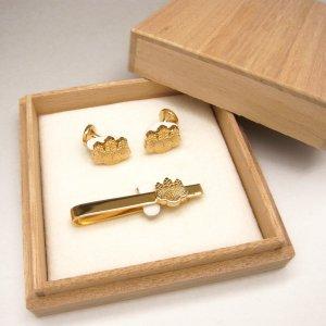 ■銀製オーダーメイド家紋ネクタイピン・カフスボタン・セット【クリップ式】 ゴールドめっき仕上げ